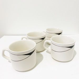 Set of 4 Ceramic Minimalist Mugs